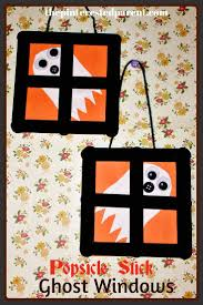 popsicle stick ghost windows halloween crafts for kids kids