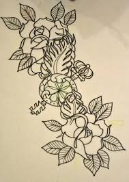 two roses and key sketch best designs