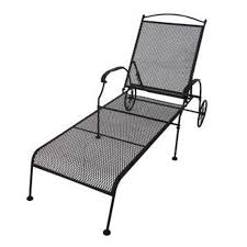 Wrought Iron Chaise Lounge Shop Garden Treasures Hanover Mesh Seat Wrought Iron Patio Chaise