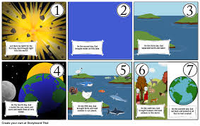 what day did god create light religion the world in seven days storyboard by holycross7a