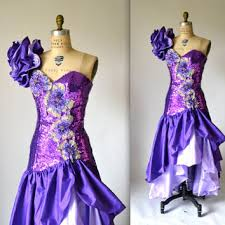 eighties prom dress 80s prom dress with purple sequin ruffle from hookedonhoney on