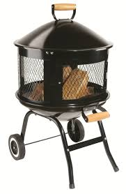portable fire pit wheels outdoor patio deck fireplace wood burning