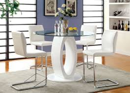 Modern White Dining Room Set by Furniture Of America White Jaina Contemporary Round Counter Height