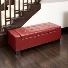 guernsey red bonded leather storage ottoman by christopher knight