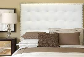 Leather Tufted Headboard Queen Size White Genuine Leather Buttonless Tufted Headboard With