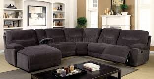 Reclining Sectional Sofa Zuben Reclining Sectional Sofa Cm6853 In Gray Chenille Fabric