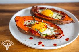 bacon u0026 egg stuffed sweet potato fit men cook