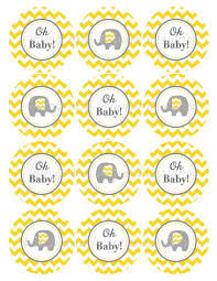 yellow grey chevron baby shower decorations printable party
