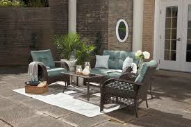 hometrends tuscany 4 piece cushioned wicker conversation set