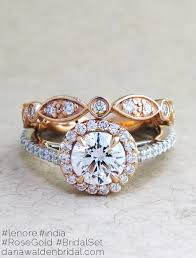 golden diamond rings images Lenore rose gold platinum diamond halo in mixed metal dana