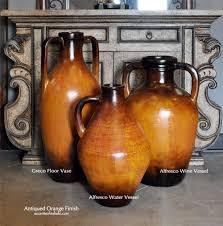 Large Brown Floor Vase Tuscan Style Rustic Terra Cotta Pottery Ceramic Urns Ceramic