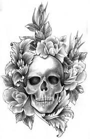 pencil drawing skull roses and baroque filigree design in