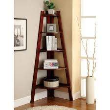 Leaning Ladder Bookshelves by Corner Cherry Wood Leaning Ladder Shelves In Two Tone Painted Room