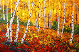 graceful birch trees in autumn original art by connie tom aspen trees