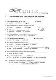 thanksgiving quiz worksheet free esl printable worksheets made