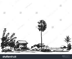 sketch houses little village palm tree stock vector 227827747