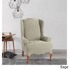 grey chair slipcovers sure fit stretch jacquard damask wing chair slipcover free