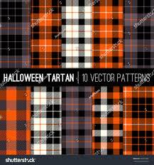 halloween tartan plaid patterns orange stock vector