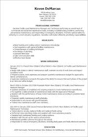 How To Prepare A Job Resume by Professional Facility Lead Maintenance Templates To Showcase Your