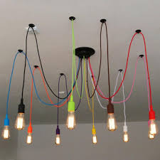 Colorful Pendant Lights Industrial Retro Colors Spider Rope Chandelier Pendant Lamp