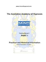 training manual 1 part 1 hypnosis hypnotherapy