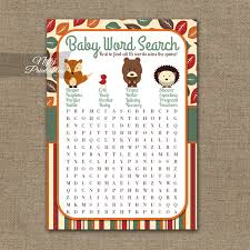 woodland baby shower printable baby shower word search woodland baby