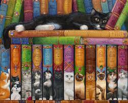 amazon com cat bookshelf jigsaw puzzle 1000 piece toys u0026 games