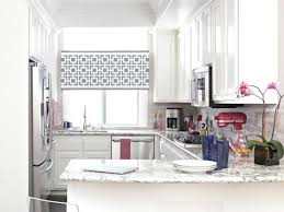 bright kitchen ideas with windows treatment and white cabinet