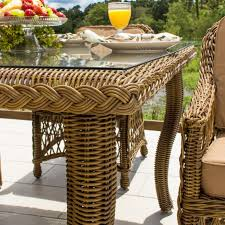 Kitchen Table Close Up Everglades 5 Piece Honey Resin Wicker Patio Dining Set By Lakeview