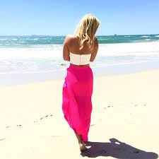 pink high low maxi skirt