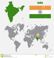 World Map With Flags India Map On A World Map With Flag And Map Pointer Vector