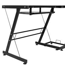 ktaxon l shape computer desk corner desk black with black glass