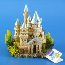 kazoo castle with plants and blue roof small aquarium ornament