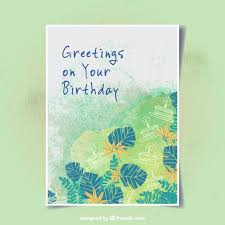 birthday greeting card with vegetation vector free download