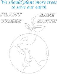 plant tree to save earth coloring page
