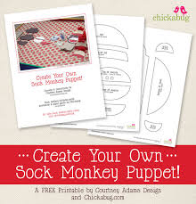 free printable sock monkey puppet template chickabug