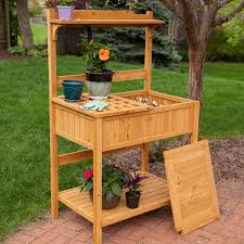Wooden Benches With Storage Cypress Wood Lotus Potting Bench With Metal Top Hayneedle