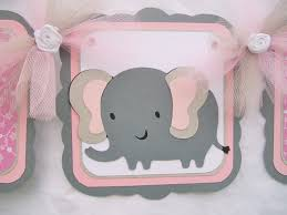 pink and grey elephant baby shower elephant baby shower banner its a girl pink grey white on luulla