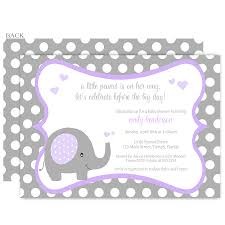polka dot elephant purple baby shower invitation baby elephants