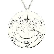 personalized family tree necklace engraved gold color disc with