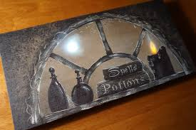 lighted candles book of spells potion bottle witches broom