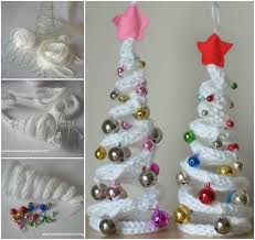 diy knitting tree shaped ornaments