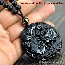 black stone pendant necklace images Wholesale lcz jewelry fashion black dragon phoenix pendant natural jpg