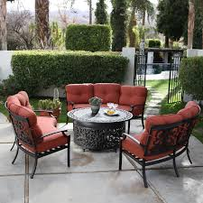 Chat Set Patio Furniture - sofa fire pit chat set seats 9 fire pit patio sets at hayneedle