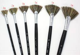 fan brush oil painting 5 pc set monet fan brush boar bristle hair oil painting set