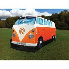 van volkswagen hippie tent kombi camper van orange