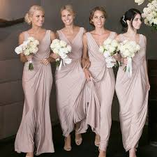 bridesmaid dress sheath v neck floor length blush elastic satin bridesmaid