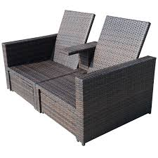 Wicker Settee Replacement Cushions by Outsunny Outdoor 3 Piece Pe Rattan Wicker Patio Loveseat Lounge