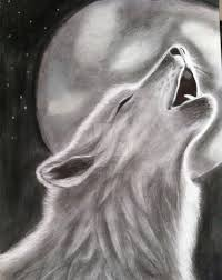 drawing of a wolf howling on the moon by vikawolf1 on deviantart