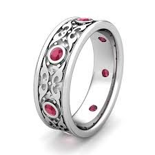 mens ruby wedding rings celtic wedding band for in platinum